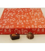 Kerst box rood met 800 gr handgemaakte bonbons