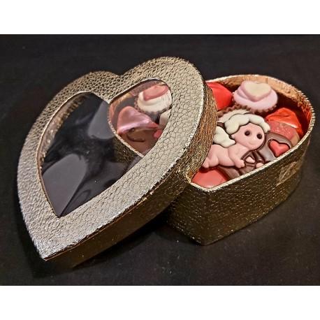 Valentijn Hart Gold 450 gr Handgemaakte Bonbons